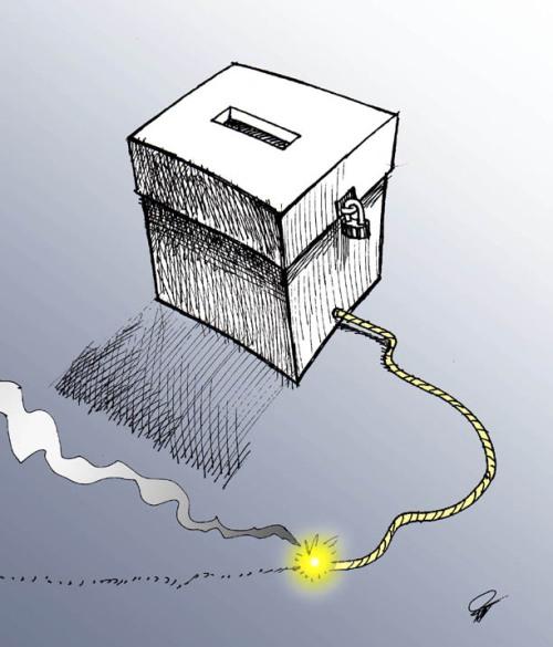 Urna con mecha iranelection