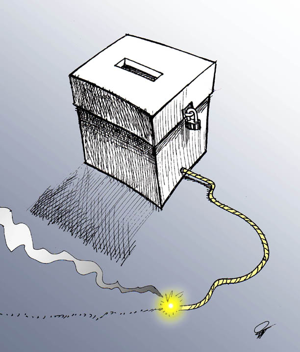 Urna con mecha iranelection